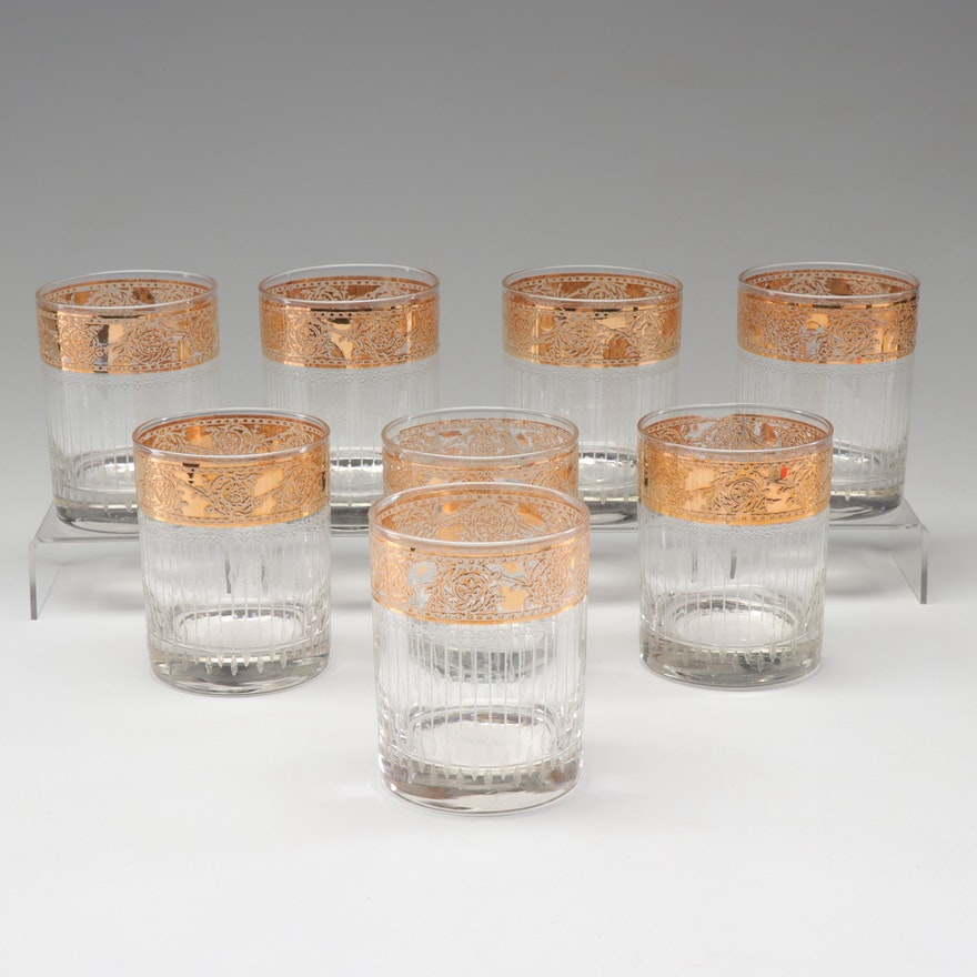Gold Rimmed Mid-Century Cocktail Glasses