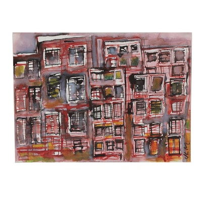 Jean-Louis Moray Watercolor Painting of Abstract Cityscape