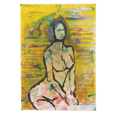 Jean-Louis Moray Watercolor Painting Abstract Female Nude