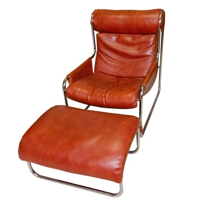 Mid Century Modern Lounge Chair and Ottoman in Sienna Faux Leather Upholstery