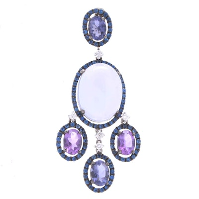 18K White Gold Chalcedony, Amethyst and Sapphire Pendant