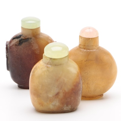 Chinese Hardstone Snuff Bottles with Rose Quartz and Bowenite Caps