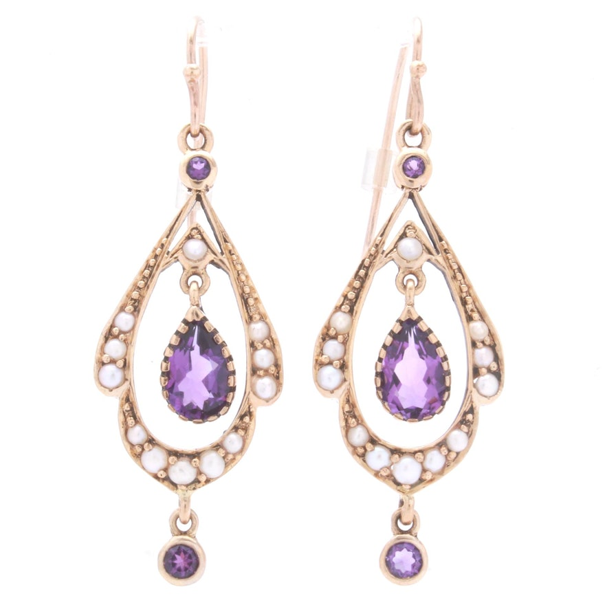 14K Yellow Gold Amethyst and Seed Pearl Earrings