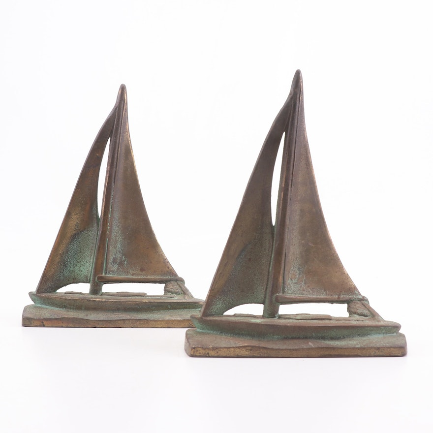 Brass Clad Cast Iron Sailing Sloop Bookends, Early 20th Century