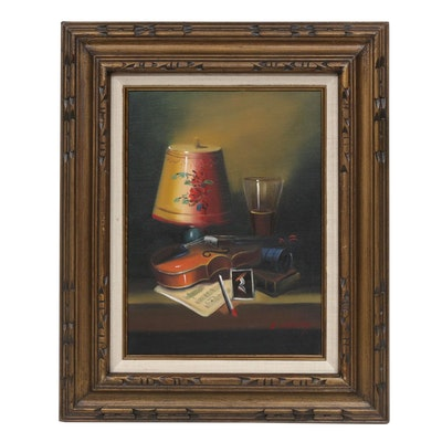 L. Habady Still Life with Violin Oil Painting
