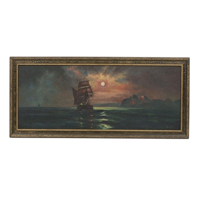 Raze Oil Painting of a Ship at Sunset