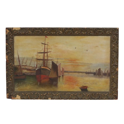 Late 19th - Early 20th Century Oil Painting of a Harbor Scene