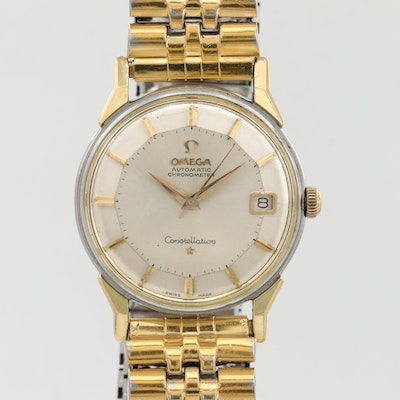Vintage Omega Constellation Two Tone Automatic Wristwatch With Pie Pan Dial