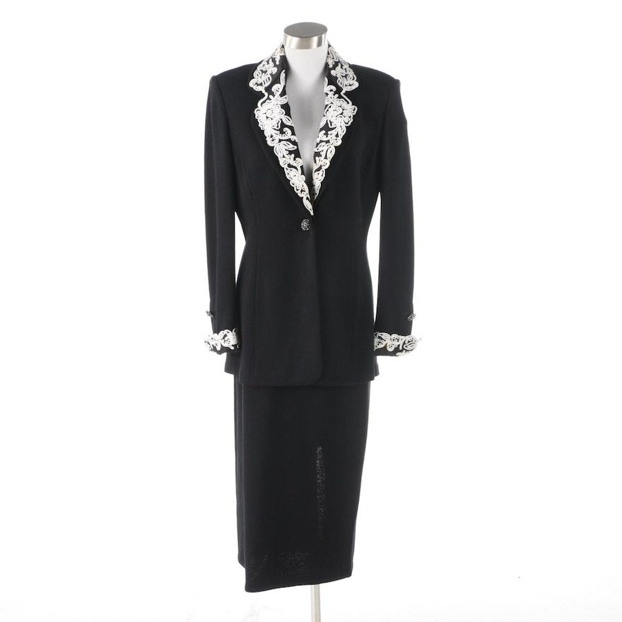 St. John Evening Embellished Jacket and St. John Basics Midi Skirt
