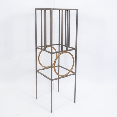 Contemporary Modernist Style Metal and Glass Display Pedestal