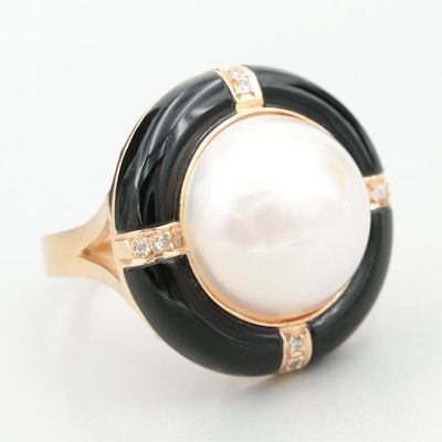 14K Yellow Gold Cultured Pearl, Black Glass and Diamond Ring