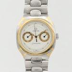 Vintage Omega Seamaster Polaris Two Tone Quartz Wristwatch With Day and Date