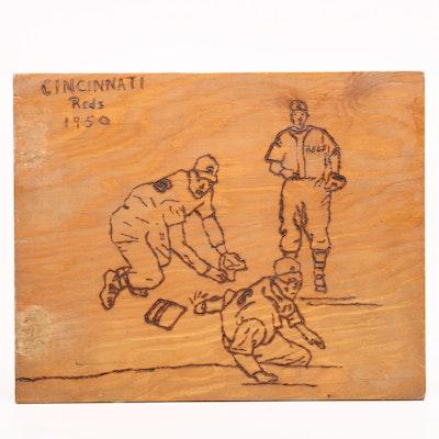 "1950 Cincinnati Reds Handmade ""Pyrographic"" Influenced Scrapbook"