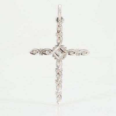 10K White Gold Diamond Cross Pendant Necklace