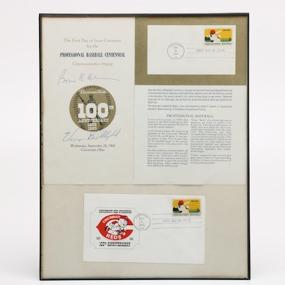 """1969 Major League Baseball """"100th Anniversary"""" Display Signed by Bowie Kuhn"""