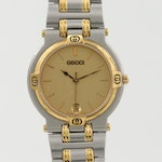 Vintage Gucci 9000M Two Tone Stainless Steel Quartz Wristwatch with Date Window
