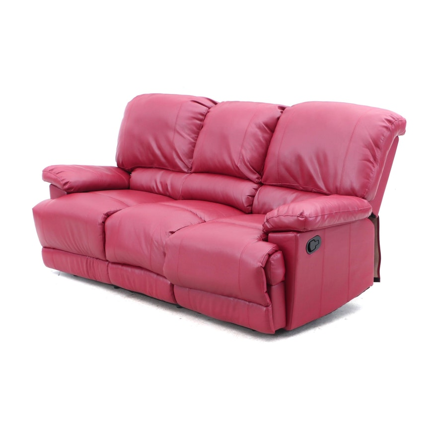 Enjoyable Contemporary Red Faux Leather Dual Reclining Sofa Evergreenethics Interior Chair Design Evergreenethicsorg