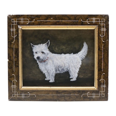 Early 20th Century Oil Canine Portrait Painting