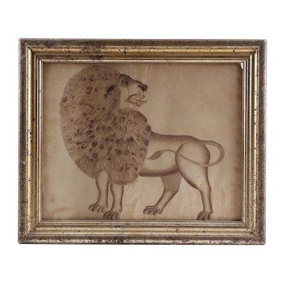 19th Century Ink Drawing of a Lion