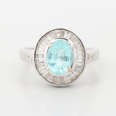 18K White Gold Cuprian Tourmaline and Diamond Circular Ring