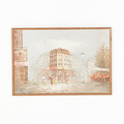 Paris Street Scene Oil Painting