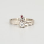Vintage 14K White Gold Diamond and Ruby Ring