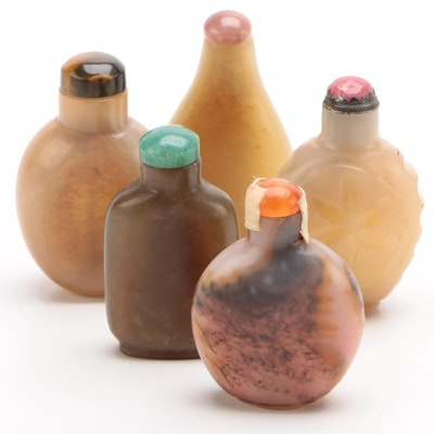 Chinese Carved Hardstone and Glass Snuff Bottles