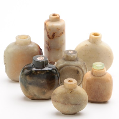 Group of Chinese Carved Hardstone Snuff Bottles