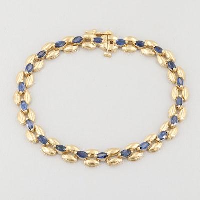 14K Yellow Gold Blue Sapphire Bracelet