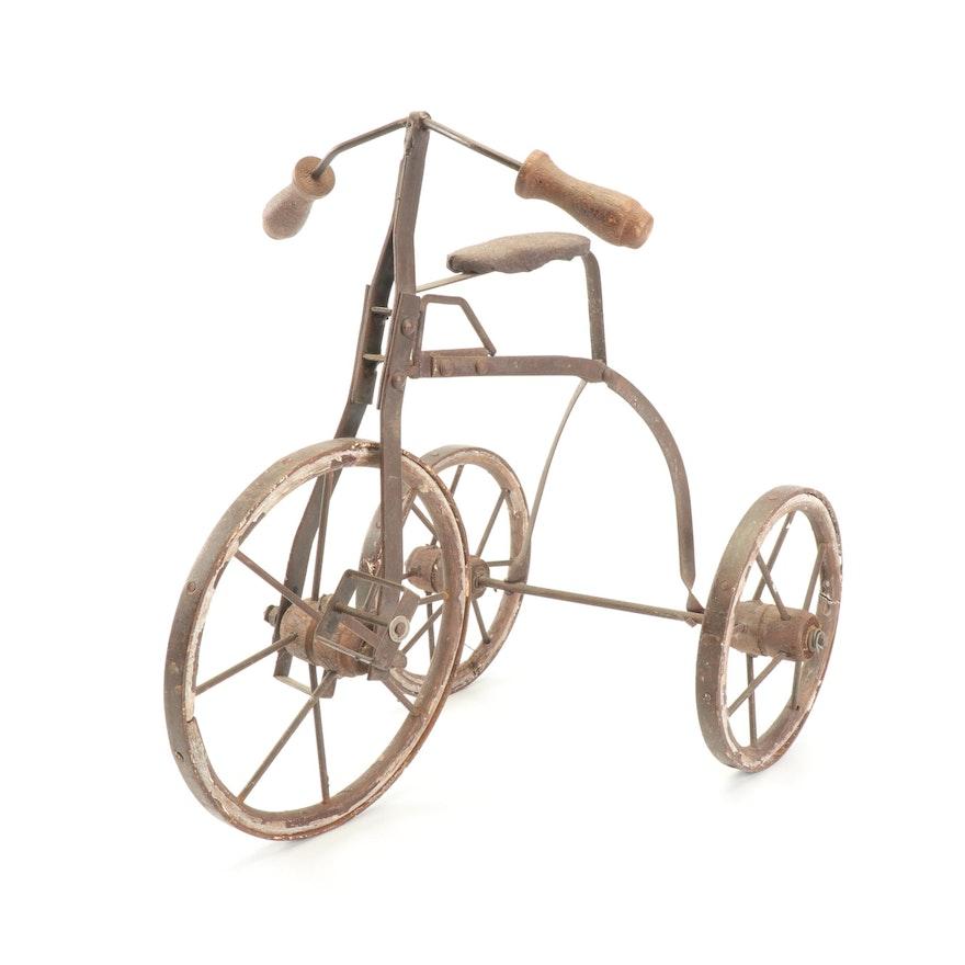 Vintage Handmade Metal and Wood Miniature Tricycle