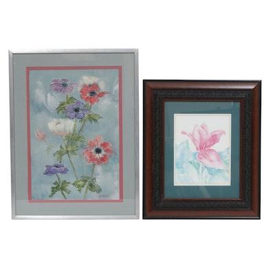 Virginia Durbin Thibodeau and Susan M. Union Floral Watercolor Paintings