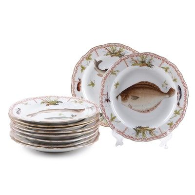 Meissen Porcelain Salad Plates with Fish Motifs, Early 20th Century