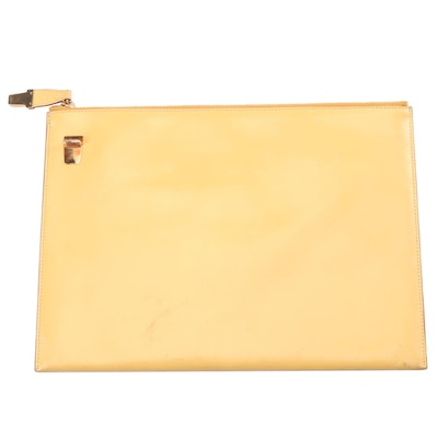 Prada Cervo Leather Clutch in Yellow with Light Brown Interior