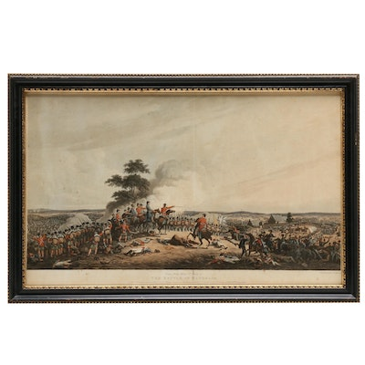 "Hand-colored Aquatint Etching ""The Battle of Waterloo"""