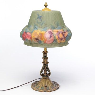 Polychrome Painted Metal Table Lamp with Puffy Glass Shade After Pairpoint