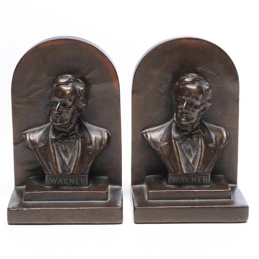 Bronze Clad Armor Bronze Richard Wagner Bookends, Circa 1940s