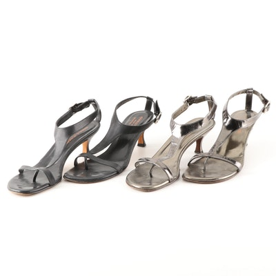 Donald J Pliner T-Strap Sandals in Metallic Leather and Black Leather