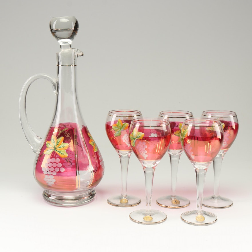 Romanian Hand-Painted Blown Glass Wine Decanter and Wine Glasses