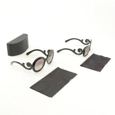 Prada SPR 27N and SPR 270 Baroque Black Sunglasses