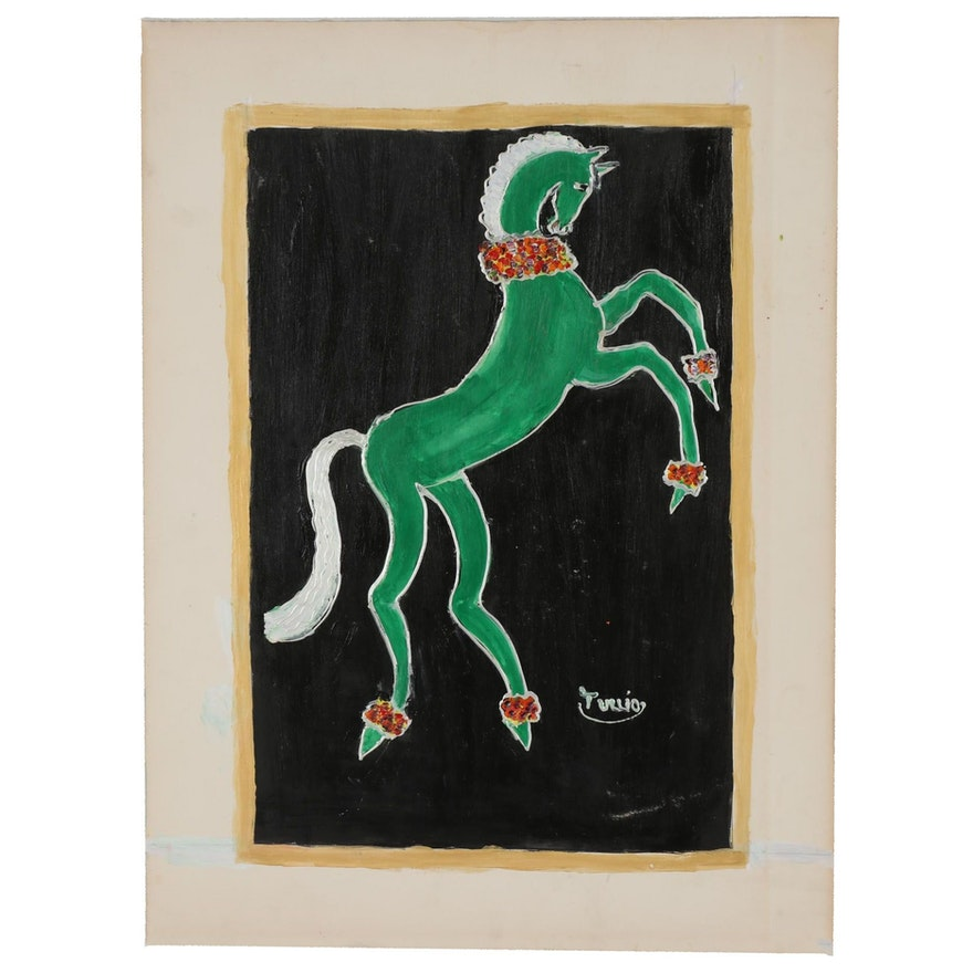 Charles Tullio Acrylic Painting of a Horse