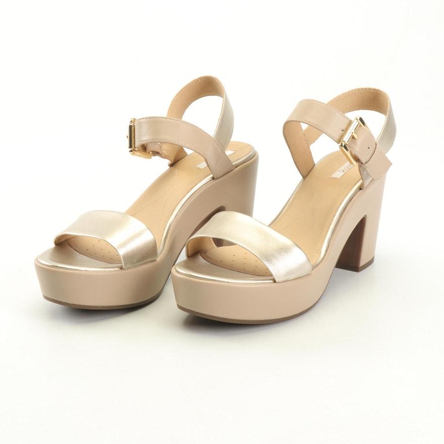 Geox Respira Metallic and Beige Leather Platform Ankle-Strap Heels