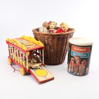 Mid Century PlaySkool Blocks, Fisher Price Circus, Dolls and Wooden Bowling Set