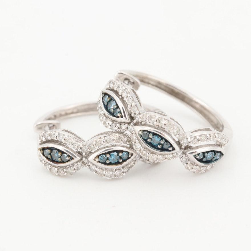 10K White Gold Blue and White Diamond Hoop Earrings