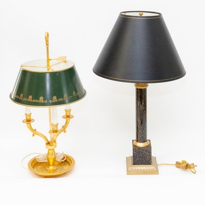 Neoclassical Style and Bouillotte Style Table Lamps