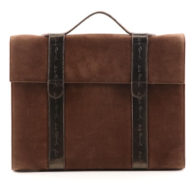 Louis Féraud Brown Suede Briefcase with Signature Embossed Metallic Leather