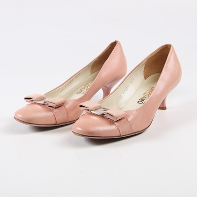 Salvatore Ferragamo Flat Bow Pink Leather Kitten Heel Pumps