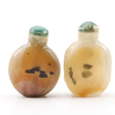 Pair of Chinese Glass Snuff Bottles in Agate Form