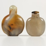 Glass Chinese Snuff Bottles in Agate Form