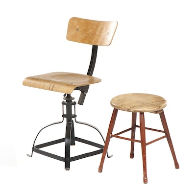 Industrial Plywood and Iron Swivel Chair Plus Primitive Plank-Seat Stool