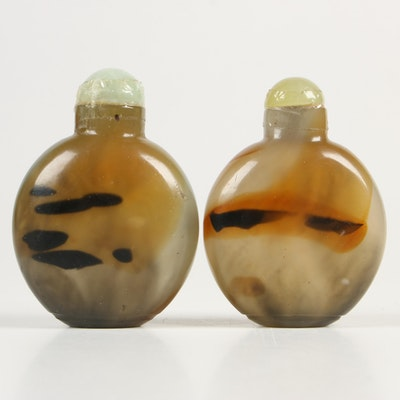 Chinese Glass Snuff Bottles in Agate Form